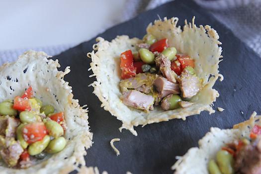 Tuna Salad in Parmesan Cups