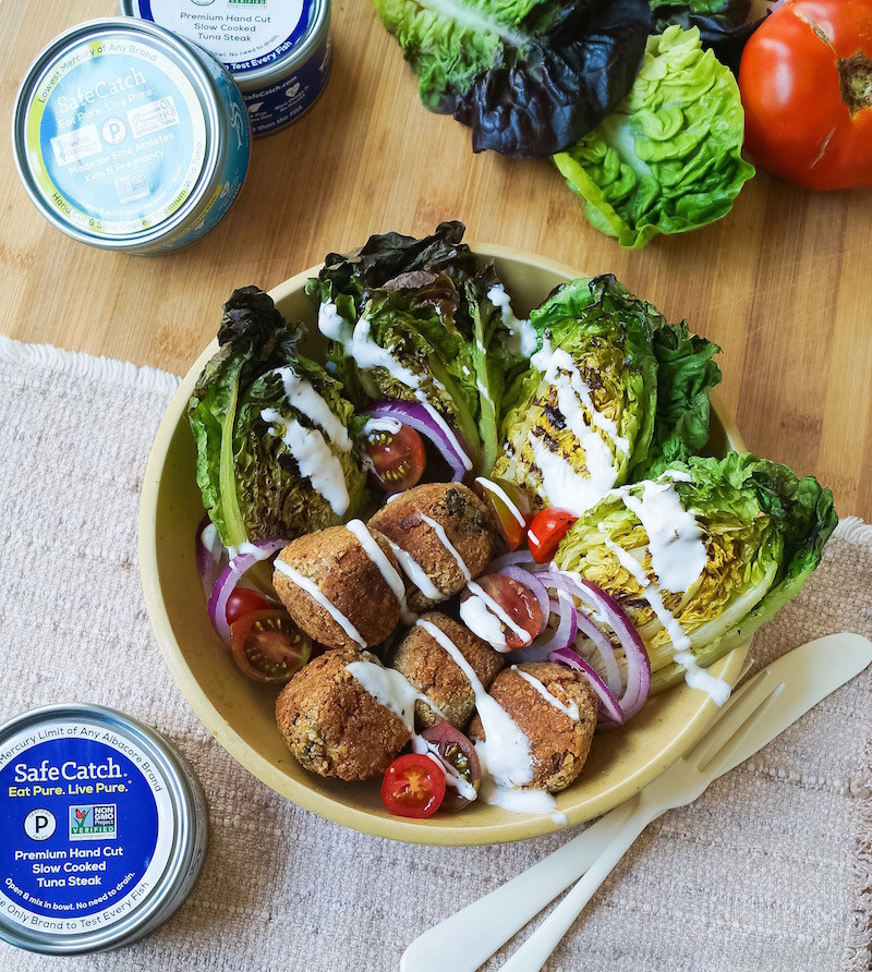 Whole30 Tuna Croquettes with Grilled Romaine Salad