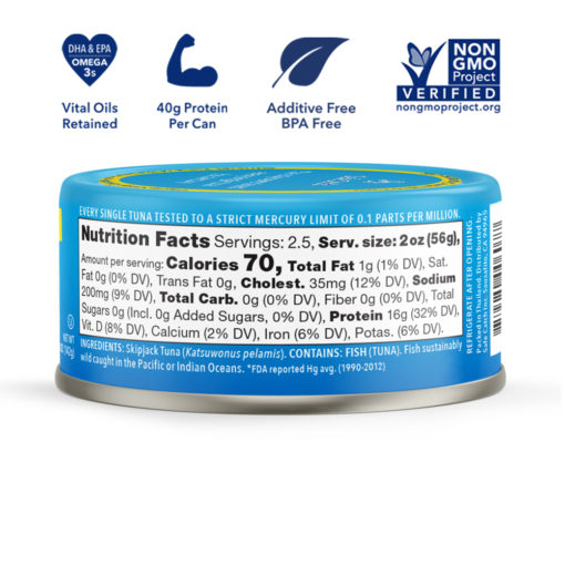 Elite Wild Tuna nutritional label