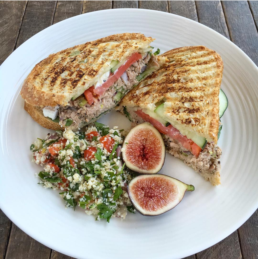 Grilled goat cheese sourdough tuna melt