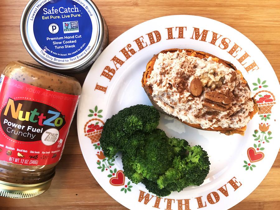 Safe Catch + NuttZo Cinnamon Tuna Stuffed Sweet Potato