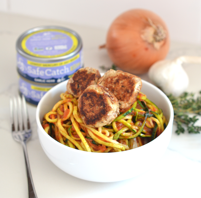 Garlic Herb Tuna Meatball with Zucchini Noodles