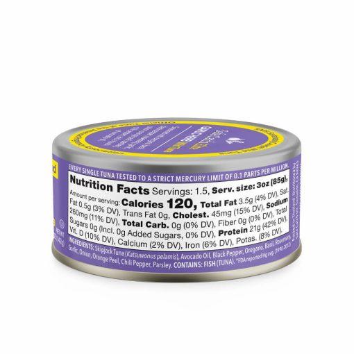Elite Wild Tuna Garlic Herb Can Nutrition