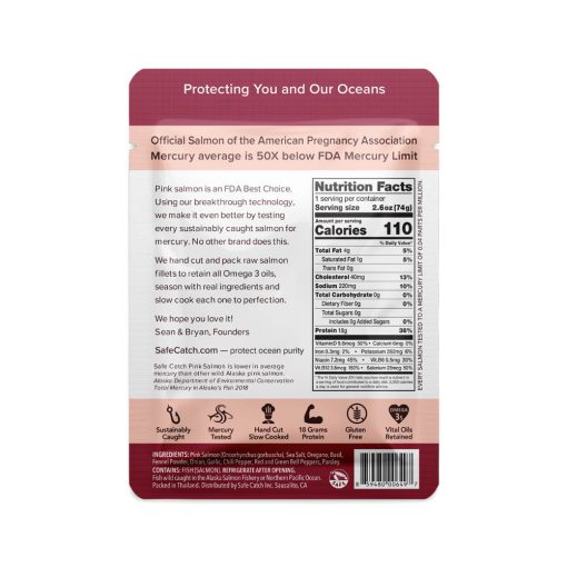 Wild Pacific Pink Salmon Italian Herb Pouch Back