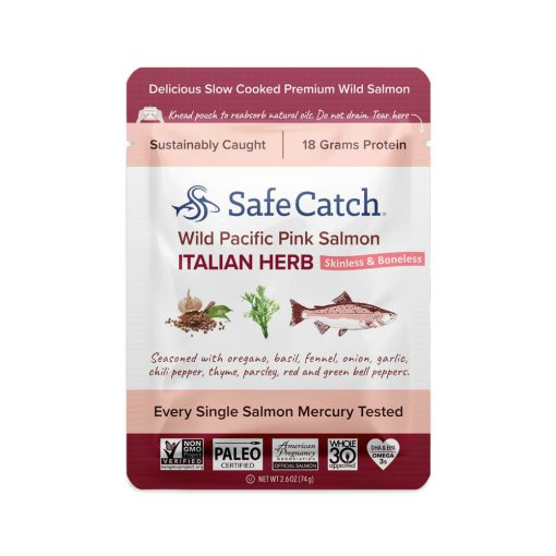 Wild Pacific Pink Salmon Italian Herb Pouch Front